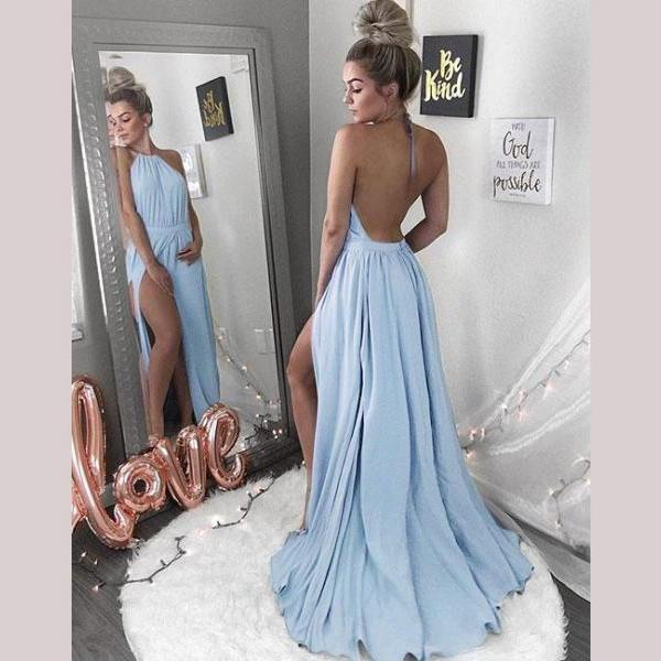 Blue Backless Evening Dress, Sexy High Split Side Long Prom Dress, Prom Gown
