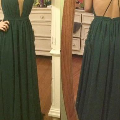 Simple Sexy Dark Green Cross Back Party Gowns, Sexy Prom Dresses, Deep V-neckline Party Dresses