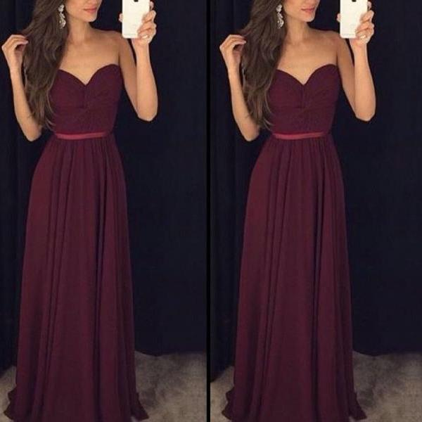 Beautiful Simple Maroon Sweetheart Chiffon Party Gowns, Prom Dresses Floor Length, Bridesmaid Dresses for Wedding
