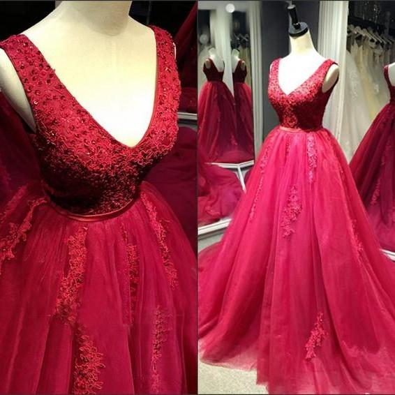 Red Tulle Ball Gown Lace Applique Formal Gowns, Prom Gowns, Party Dresses