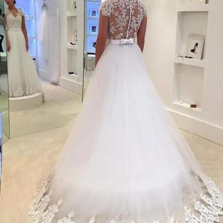 Gorgeous A-line White Long Lace Cap Sleeves Wedding Dress with Sweep Train