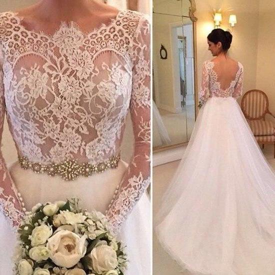 Gorgeous Lace Long Sleeves White Long Bridal Gown with V Back