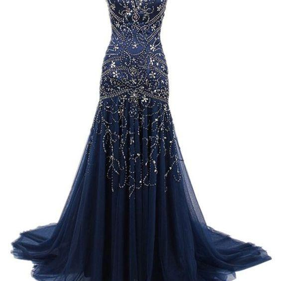 Stunning Mermaid Prom Dress, Beading Prom Evening Dress, V Neck Blue Tulle Prom Dress, Long Prom Evening Dress