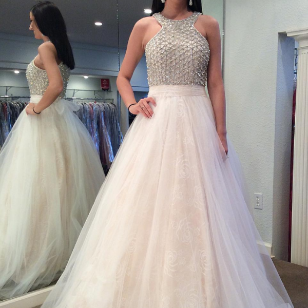 two pieces white beaded top long tulle prom dress, PD1456