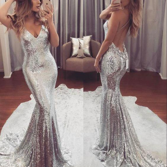 sexy sparkle sliver sequin mermaid long formal prom dress, PD1458
