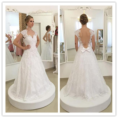 cheap cap sleeves white lace elegant floor-length wedding dress, PD1466