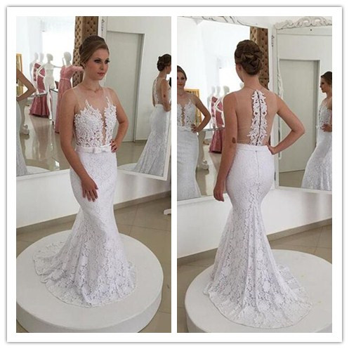 elegant mermaid white lace long cheap wedding dress, PD1469