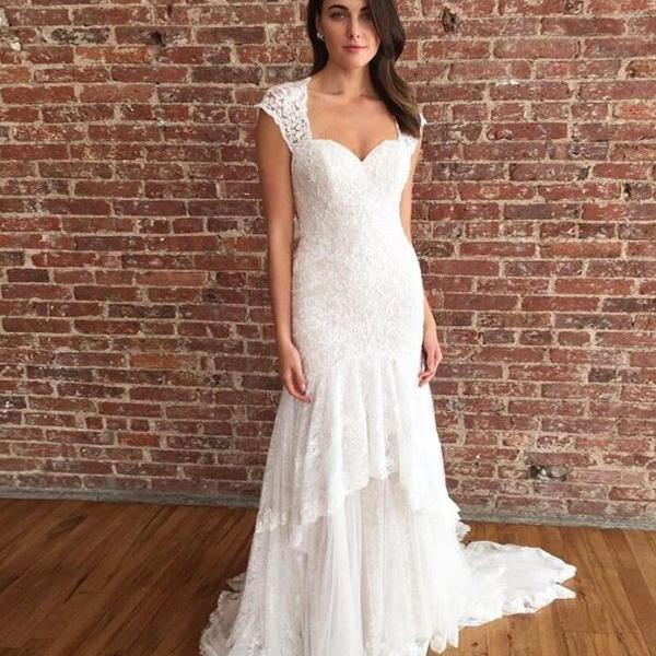 Mermaid Square Neck Long Beach Wedding Dress with Lace,BW92386