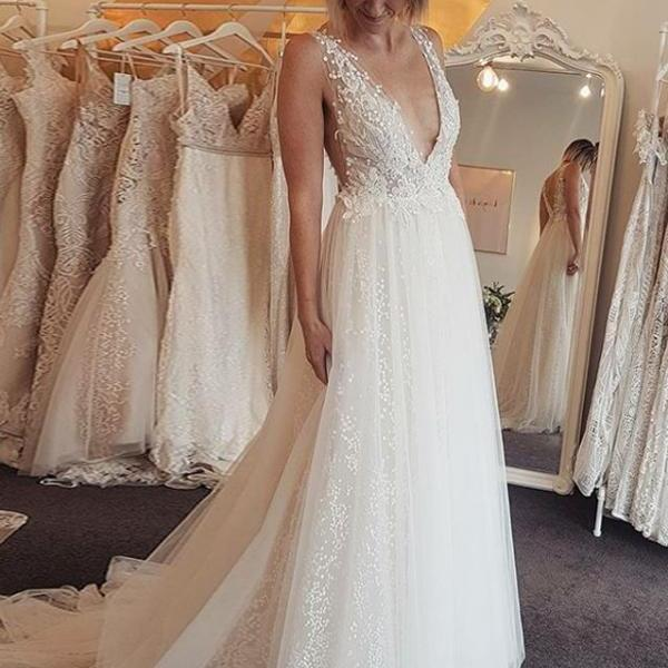 A-Line V-Neck Backless Long Wedding Dress with Sequins Appliques,BW92391