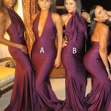 Sexy Mismatched Burgundy Mermaid Long Bridesmaid Dresses,BW92763