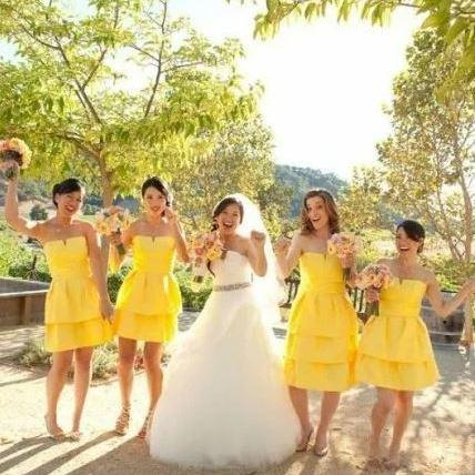 Lovely Style Yellow Strapless Knee Length Bridesmaid Dresses,BW92909