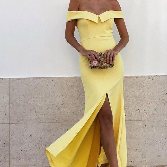 Sheath Off-the-Shoulder Yellow Satin Long Prom Party Dress with Split,BW93271