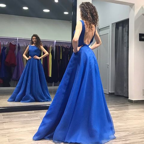 Backless Blue A-Line Formal Dresses,BW93273