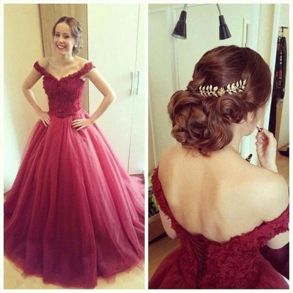 Charming Prom Dress,Tulle Prom Dress,A-Line Prom Dress,Cap-Sleeves Prom Dress,Appliques Prom Dress,Lace-Up Prom Dress,PD1700121