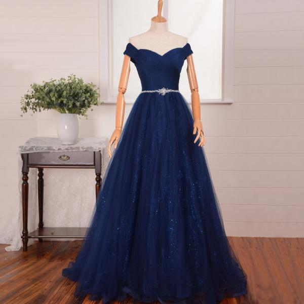 Ruched Tulle Off-The-Shoulder Sweetheart Floor Length Tulle A-Line Prom Dress Featuring Beaded Embellished Belt