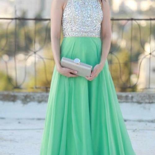 A-Line Prom Dress,Beading Prom Dress,O-Neck Prom Dress, Chiffon Prom Dress,PD1700186