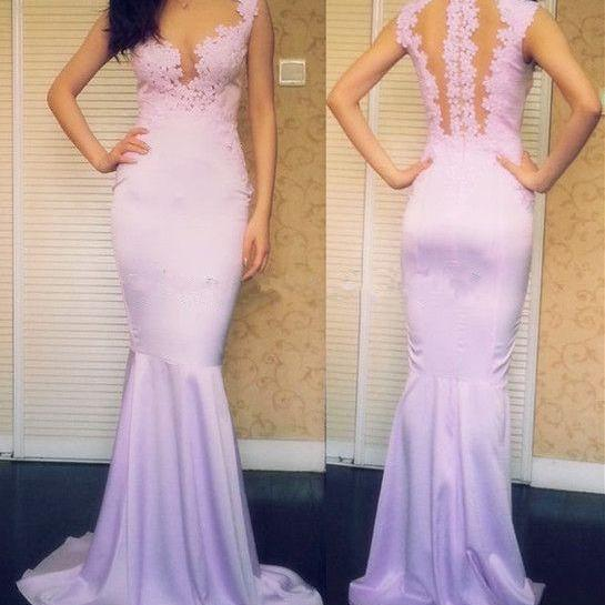 Charming Prom Dress,V-Neck Prom Dress,Mermaid Prom Dress,Appliques Prom Dress,Satin Prom Dress,PD1700477
