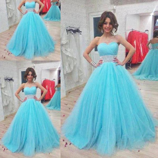 Sky Blue Prom Dress , A-Line Tulle Prom Dress , Shiny Beading Sweetheart Prom Dress , Floor Length Long Prom Dress,PD1700716
