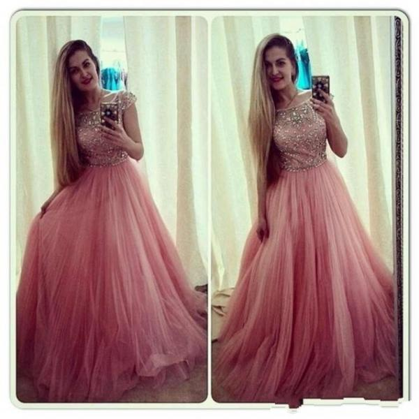 Peach Red Prom Dress, Shiny Beading Top Prom Dress, Cap Sleeves A-Line Prom Dress, Free Custom Made Prom Dress, Fashion Party Dress,PD1700717