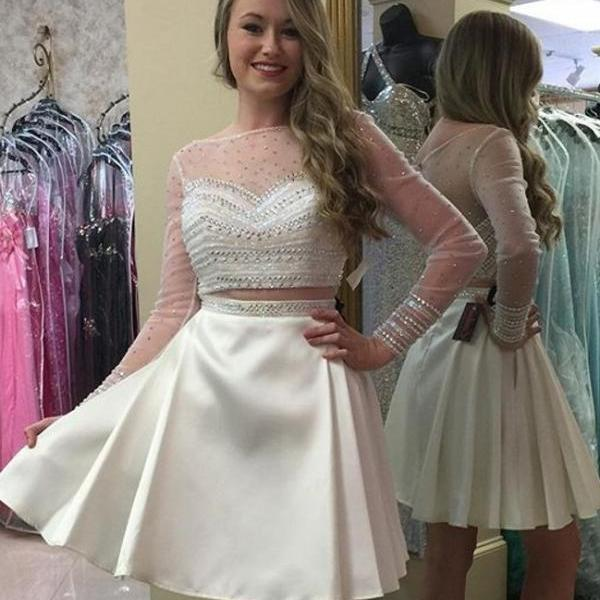 Prom Dress,Homecoming Dresses, 2 Piece Prom Dress,Long Sleeve Prom Dresses,White Prom Dress,Short Prom Dresses,Cocktail Dresses, Custom Made Prom Dresses,Sexy Prom Dress,2016 Prom Dresses,PD881