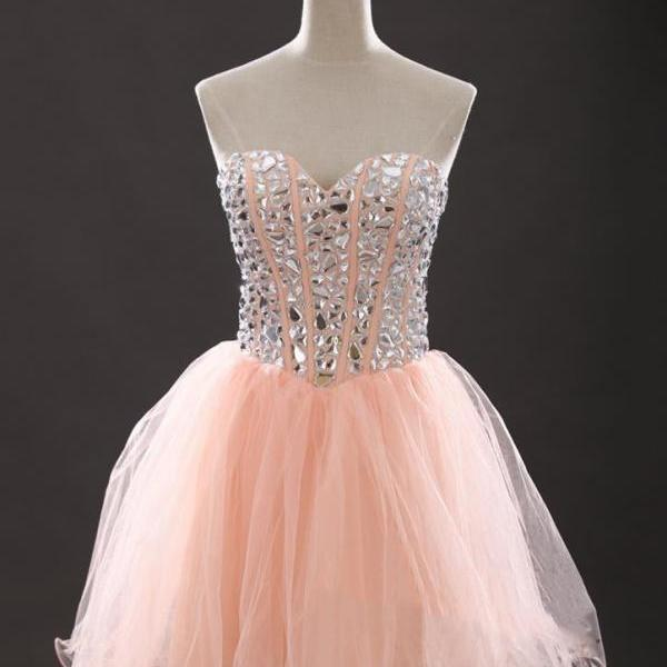 Sexy Pink Silver Stones Embellished Sweetheart Homecoming Dress, Sexy Short Organza Prom Dressses,PD882