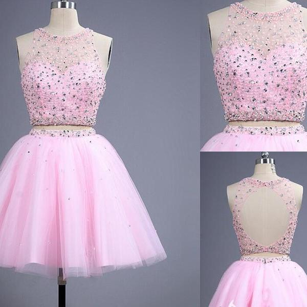 Sexy Backless Two Piece Pink Beaded Embellished Illusion Jewel Neck Homecoming Dress,PD883